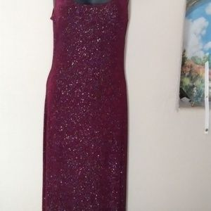 Woman long Clinging Maroon Sparkling Dress